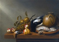 still life of fruit, fresh-water fish on an earthenware platter, birds and a stoneware pot all arranged on a ledge by harmen van steenwyck