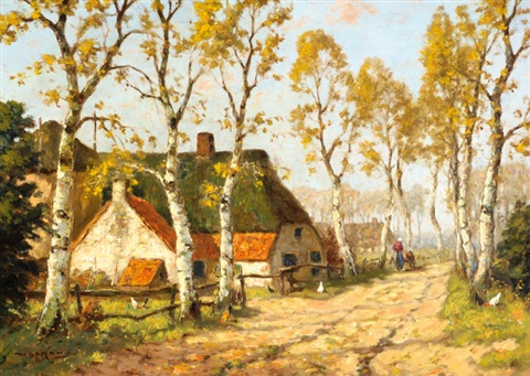 a farm on a country road by martinus jacobus nefkens
