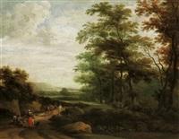 waldlandschaft mit einem rastenden paar und einem maultiertreiber by martinus de la court