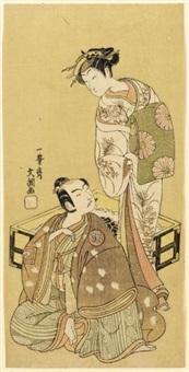 segawa kikunojo ii as tora and ichikawa yaozo ii as soga no juro (hosoban) by ippitsusai buncho
