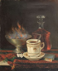 nature morte à la tasse et à la carte à jouer by victor bolley