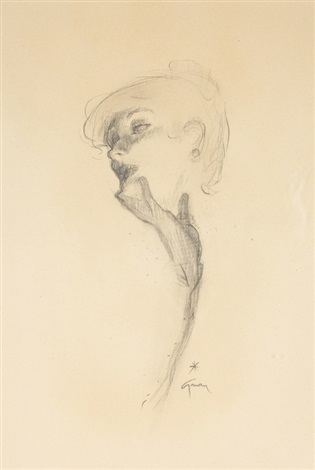 elegant lady lost in thought by rené gruau