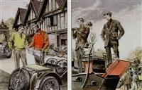 men by roadster, examining road map by leslie saalburg