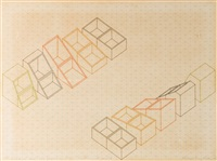 five identical boxes with progression of lids - in colours - not executed by michael craig-martin