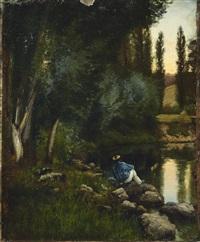 homme en bord de rivère by alexandre de gassowski
