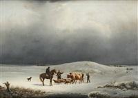 troupeau dans un paysage enneigé by belgian school (19)