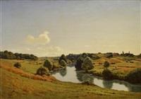 pastoral landscape with figures by jean ferdinand monchablon