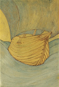 the ship - design in three tints of gold by edward burne-jones