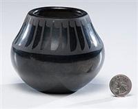 san ildefonso blackware pottery jar by maria and santana martinez