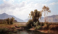 landscape with figures crossing a river by giovanni battista lelli