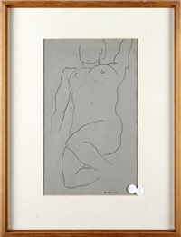 reclining nude; crouching nude (2 works) by horace asher brodzky