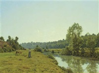 a woman and cow in a river landscape by jean ferdinand monchablon