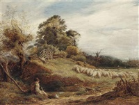 shepherd and his collie guarding the flock by john linnell
