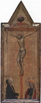 the crucifixion with the madonna and saint john the evangelist by bernardo daddi
