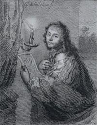 selbstportrait des künstlers godfried schalcken mit zeichnung vor einer kerze by cornelis (jacob c.) ploos van amstel