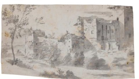 view by the walls of rome by pieter van bloemen