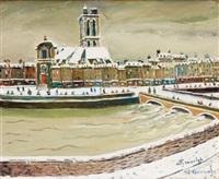 paris, l'église saint-gervais sous la neige by élisée maclet