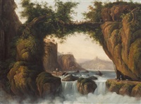 figures crossing a bridge in the rhone valley by william abraham le mesurier