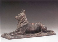 a seated german shepherd by pierre nicolas turgenov