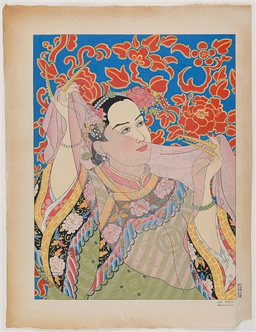 the pearl lady from manchuria from the grand deluxe set by paul jacoulet