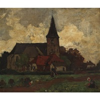 fieldworkers sowing and reaping outside a church by charles dankmeijer