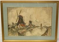molens aan een poldervaart by frank-will