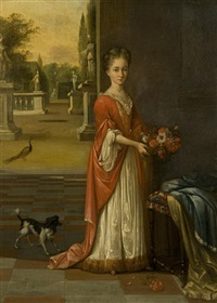 portrait of a young girl in a white dress and red gown, holding a small basket of flowers, standing before a terrace by mattheus verheyden