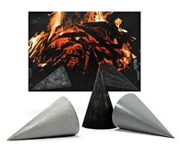 fire and three cones (4 parts) by jennifer bartlett