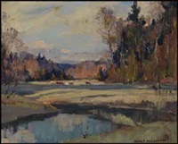 winter landscape by manly edward macdonald