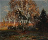 autumn day with birch trees in a forest glade by olaf viggo peter langer