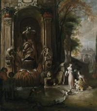 zwei frauen mit einem kind und zwei männer an einer prächtigen brunnenanlage by johann spillenberger
