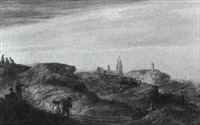 figures on a path amongst the dunes at scheveningen by cornelis de bie