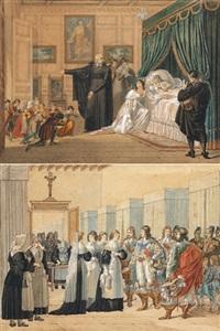 louise de marcillac visitant un hôpital (+ louise de marcillac sur son lit de mort avec saint vincent de paul à ses cotés; pair) by hippolyte lecomte