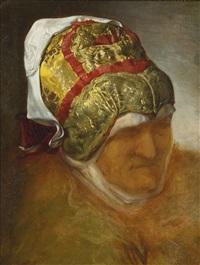 old woman wearing a tichel by moritz gottlieb
