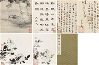 鹤园翰墨 清代名贤墨迹 册页 (十二开选六) 设色纸本 (album of 12) by liu yong