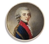 count artemii ekimovich lazarev in blue coat with red facings and gold epaulettes by josef kreutzinger