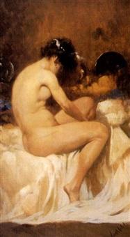 femme de dos assise sur son lit by temistocle lamesi