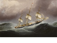 the american clipper ship flying cloud, scudding in a gale of wind off cape horn by james edward buttersworth