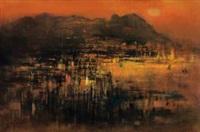 日落 (sunset in abstract landscape) by cheong soo pieng