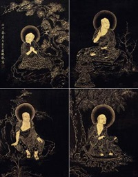 描金罗汉图册 (atlas gilt lohan) (album of 10) by ding yunpeng
