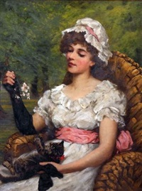 seated young lady wearing a lace bonnet, playing with a kitten by constance selous