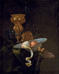 a chalice, a porcelain bowl with two oranges and a half-peeled lemon, on a draped ledge with two butterflies by christian striep