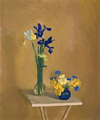 irises and pansies by brian james dunlop
