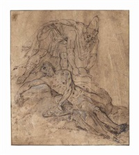 the good samaritan (recto); study of the wounded man's head (verso) by frans floris the elder