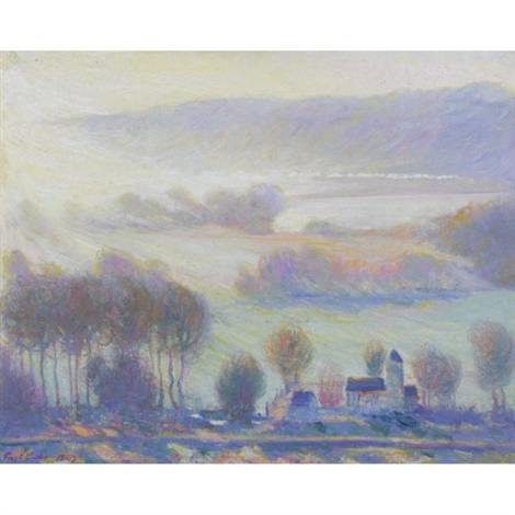 valley at giverny, the old mill by theodore earl butler