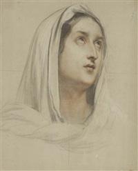 visage de femme, les yeux tournés vers le ciel by alexandre-jean-baptiste hesse
