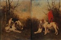 chiens de chasse à courre au relai (pair) by rené valette