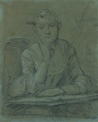 portrait de femme accoudée by jacques andré joseph aved