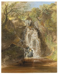 the waterfall at pistil mawddach, near dolgelly, north wales by samuel palmer