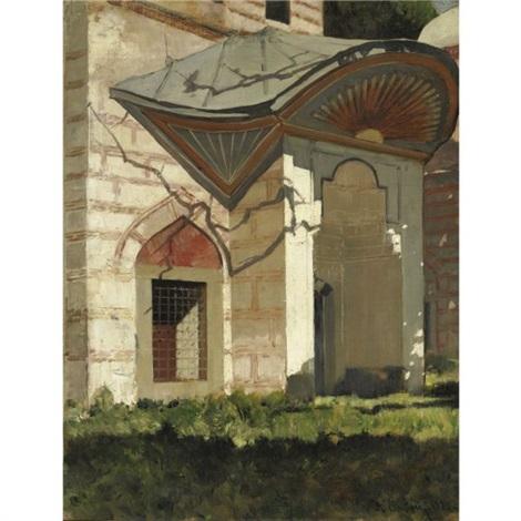 porta del turbè con sole raggiante dipinto by alberto pasini